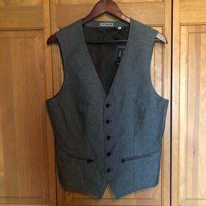 NWT Men's Express Vest Size S Gray and Black